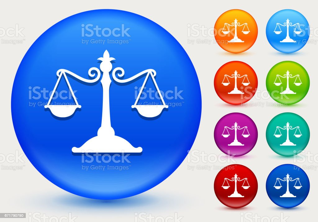 Justice Balance Icon on Shiny Color Circle Buttons vector art illustration