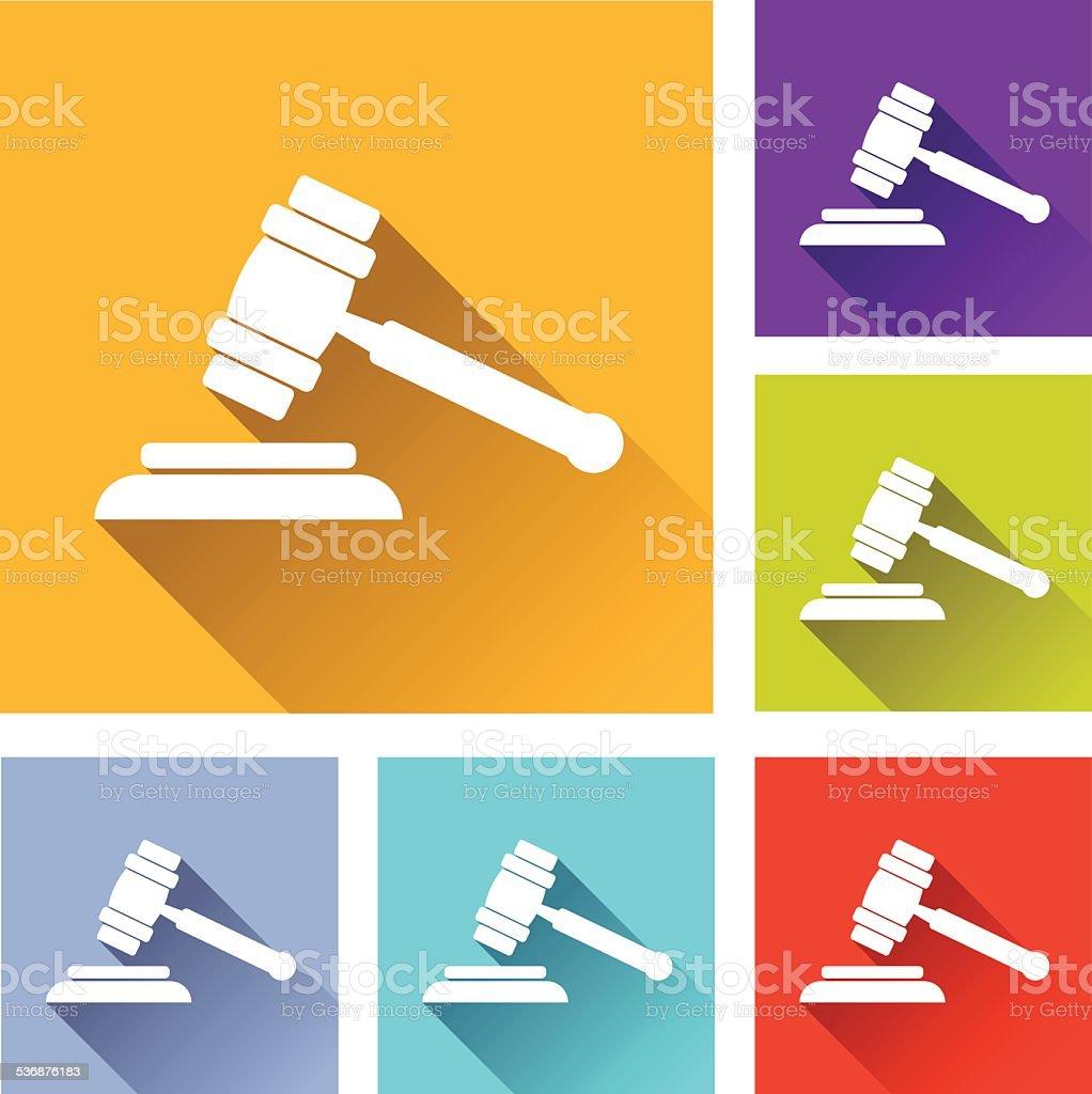 justice hammer icons vector art illustration
