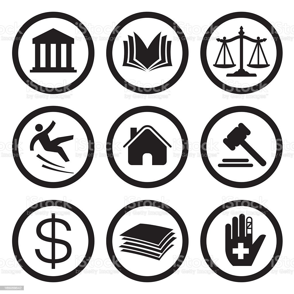 Justice Icons vector art illustration