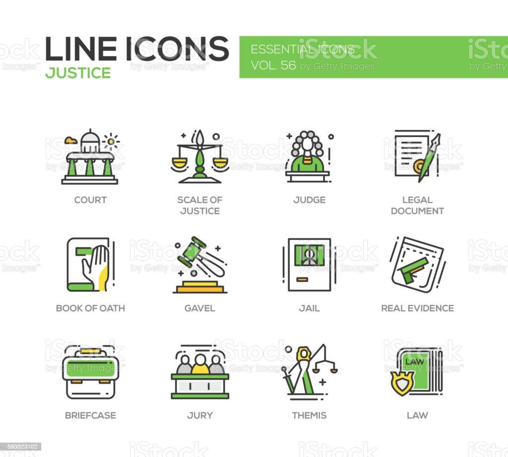 Justice - line design icons set vector art illustration