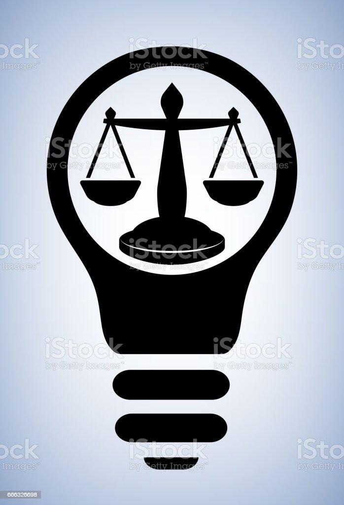 Justice Scale Light bulb Conceptual Vector Illustration vector art illustration