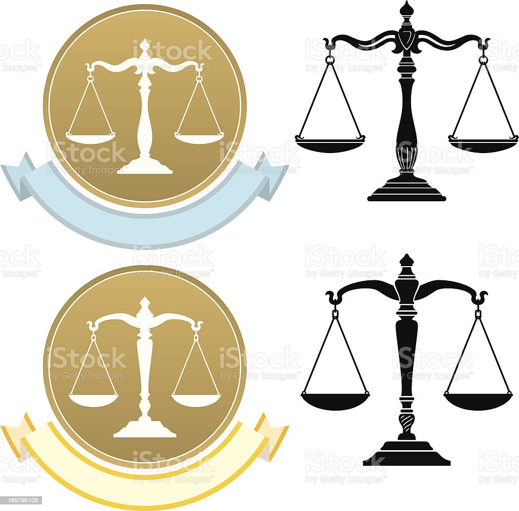Justice Scale Set vector art illustration