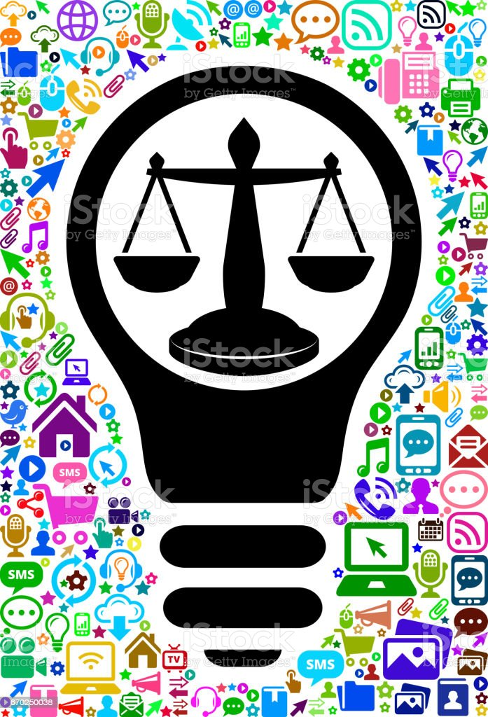 Justice Scale Technology Web Vector Background Pattern vector art illustration
