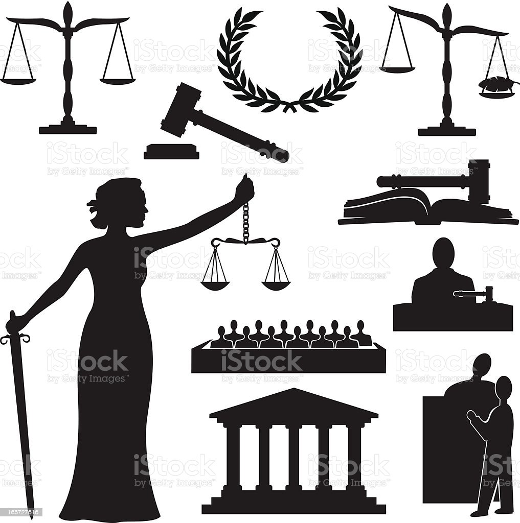 Justice Silhouette vector art illustration