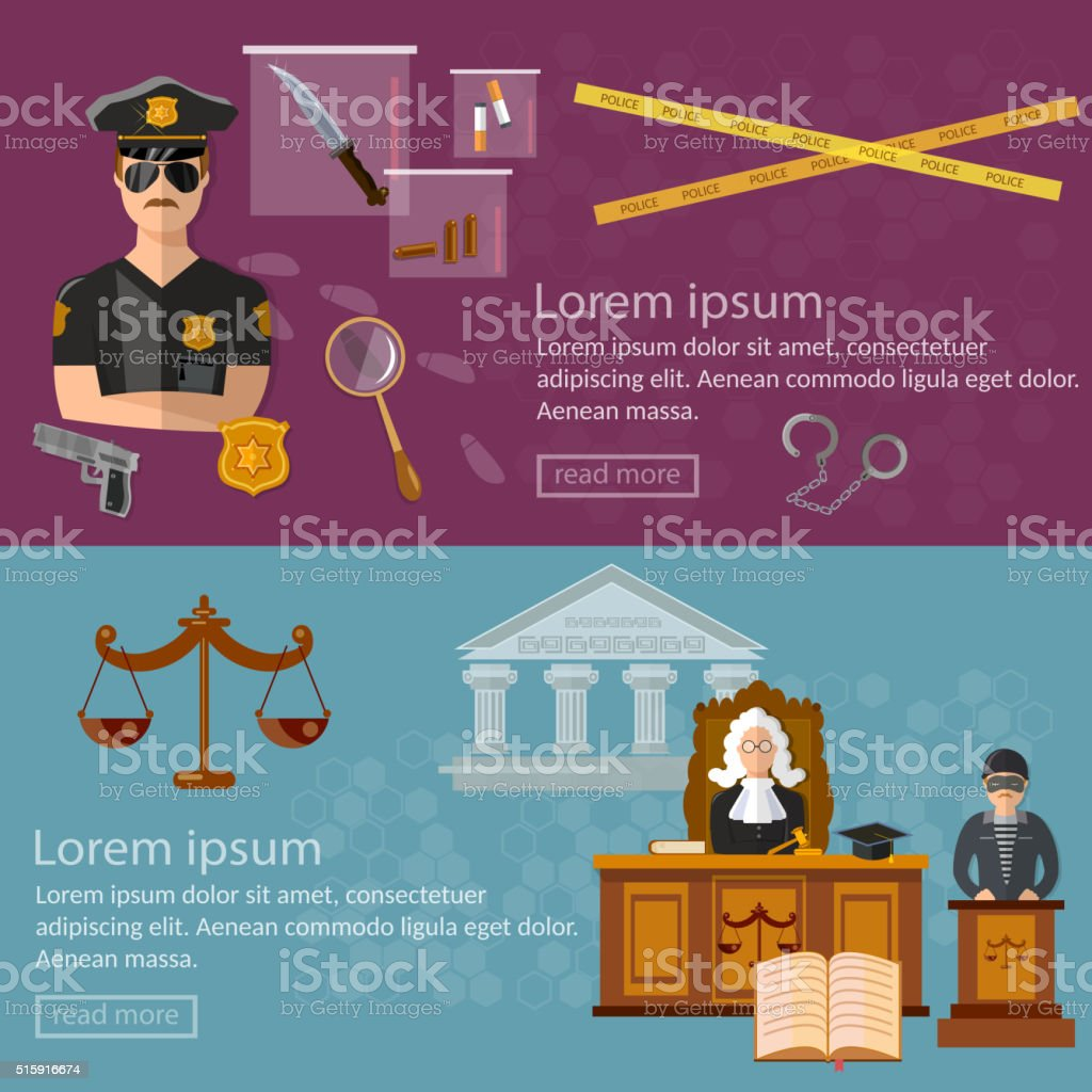 Justice system banner crime and punishment vector art illustration