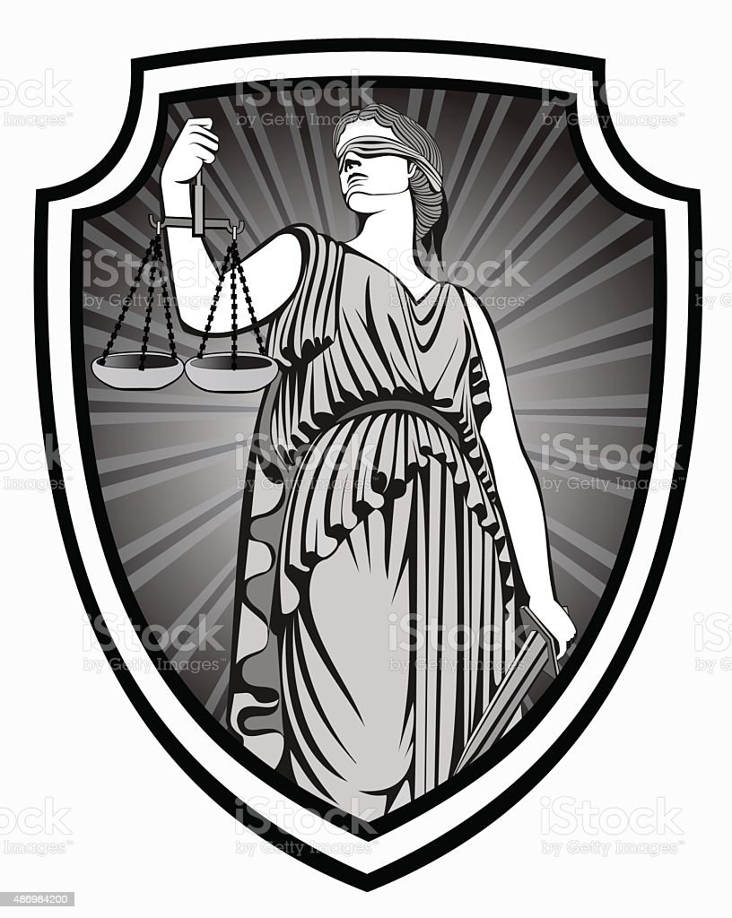 justice .  Themis . Equality .  fair trial . Law .defense shield vector art illustration