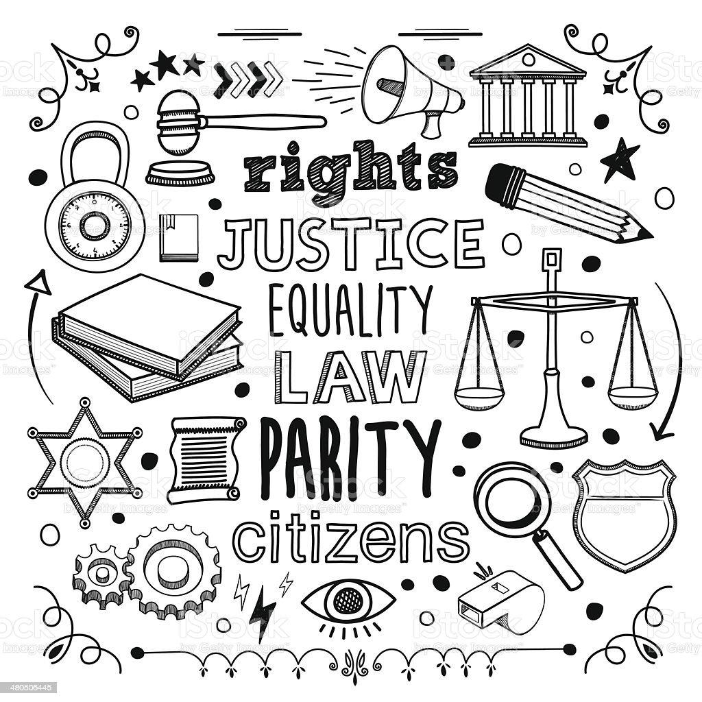 Justice vector art illustration