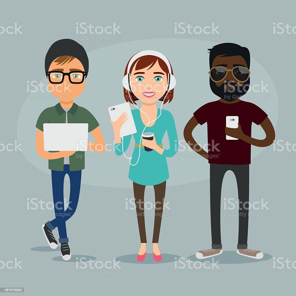 J?venes usando tecnolog?a vector art illustration