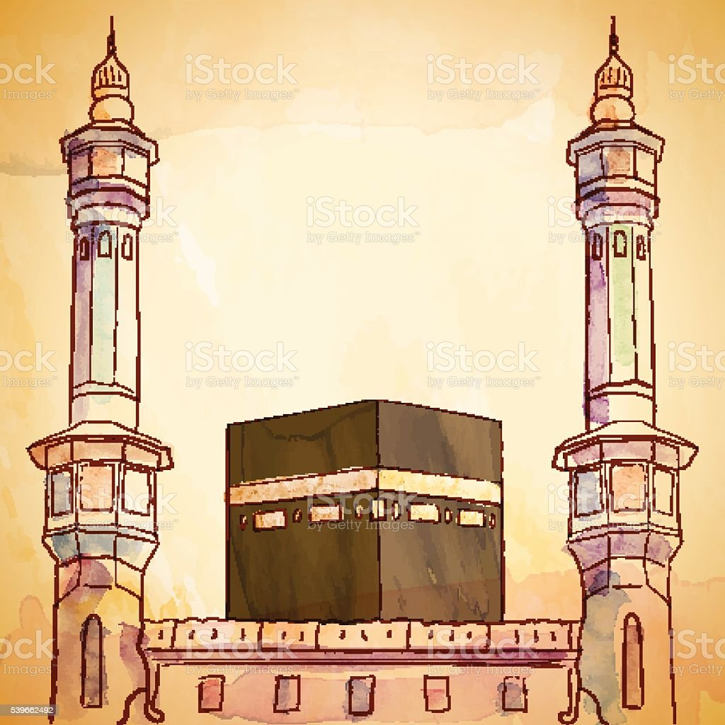 Kaaba and haram mosque illustration with vector watercolor brush vector art illustration