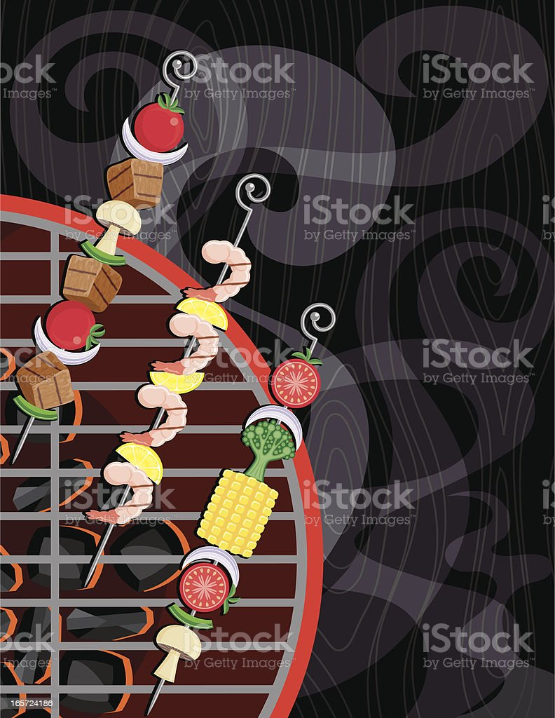 Kabobs on the Grill vector art illustration