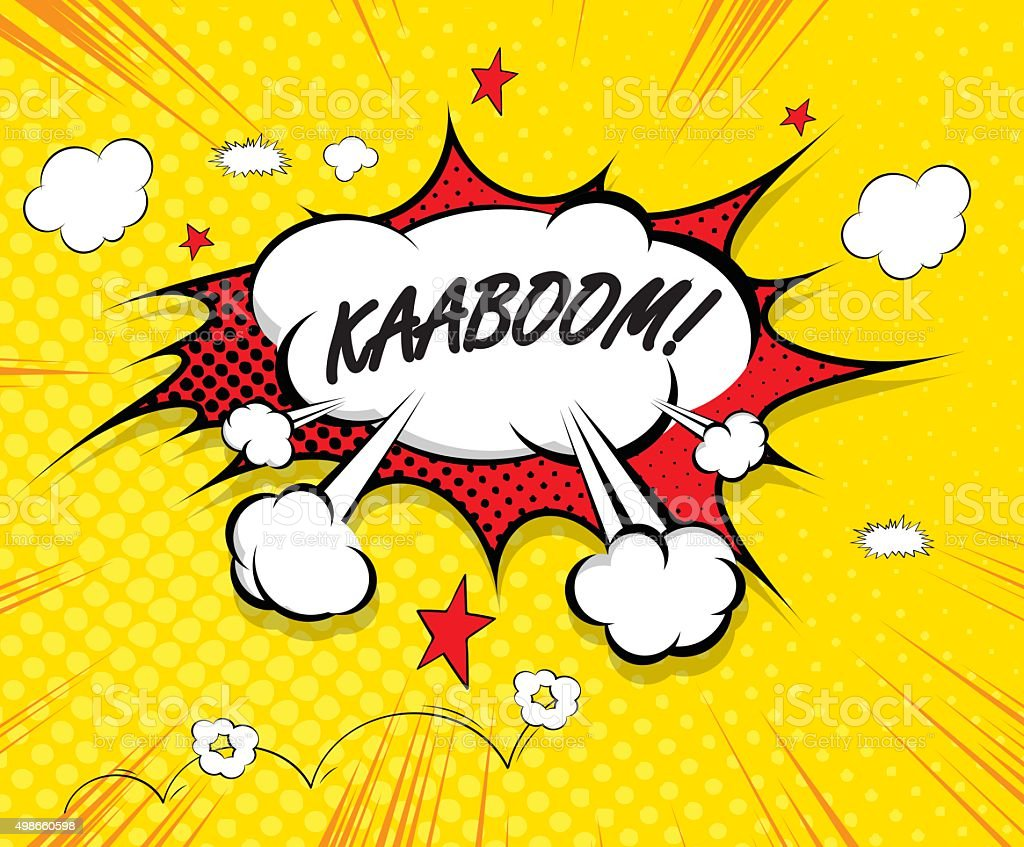 kaboom - comic speech bubble, cartoon vector art illustration