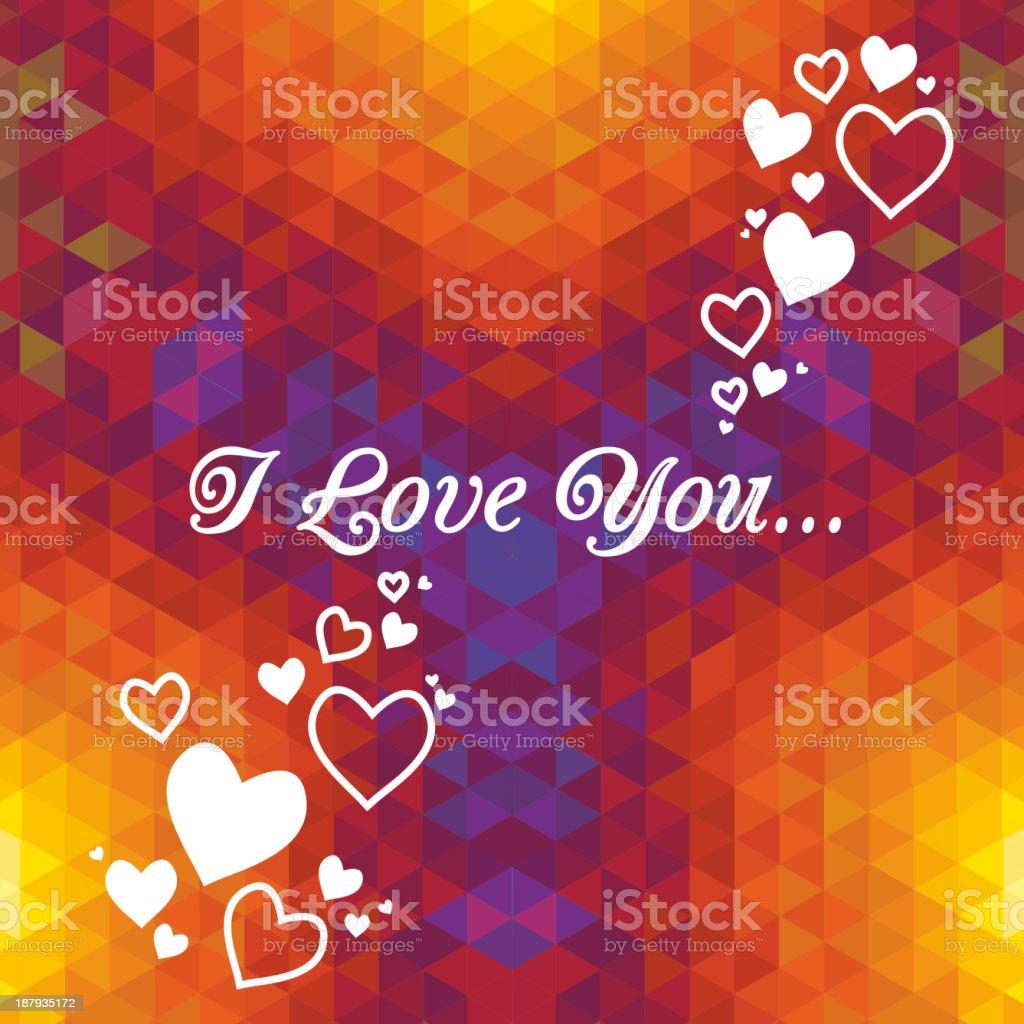 Kaleidoscope geometric dark pattern. Abstract  love vector background. Greeting card royalty-free stock vector art