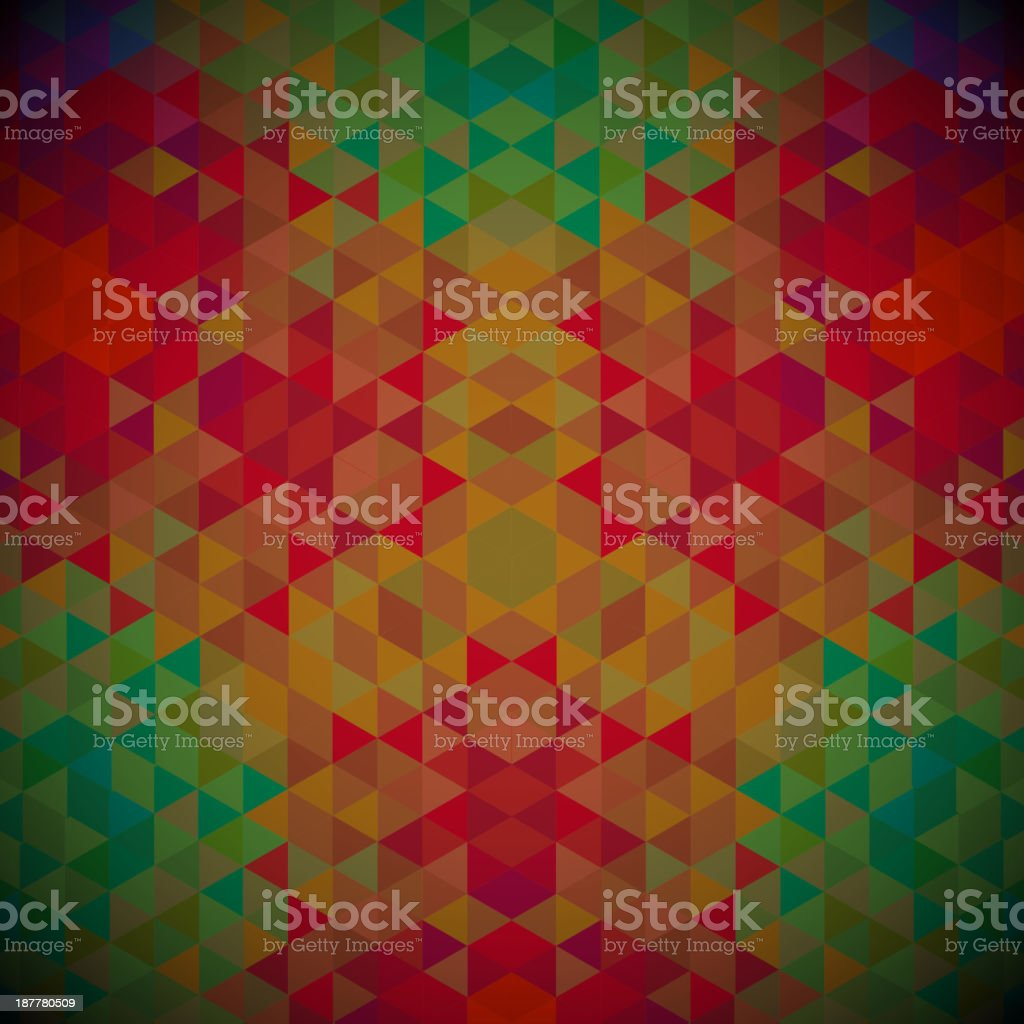 Kaleidoscope geometric dark pattern. Abstract  retro vector background. Greeting card royalty-free stock vector art