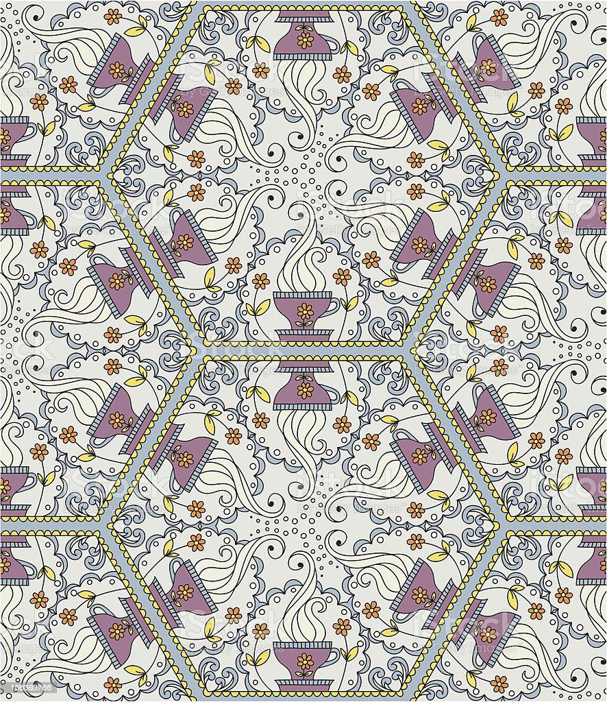 Kaleidoscope with cup of tea royalty-free stock vector art