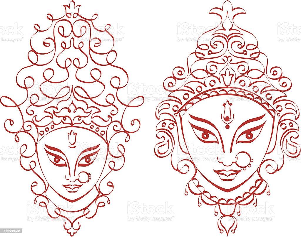 Kali Durga Face royalty-free stock vector art