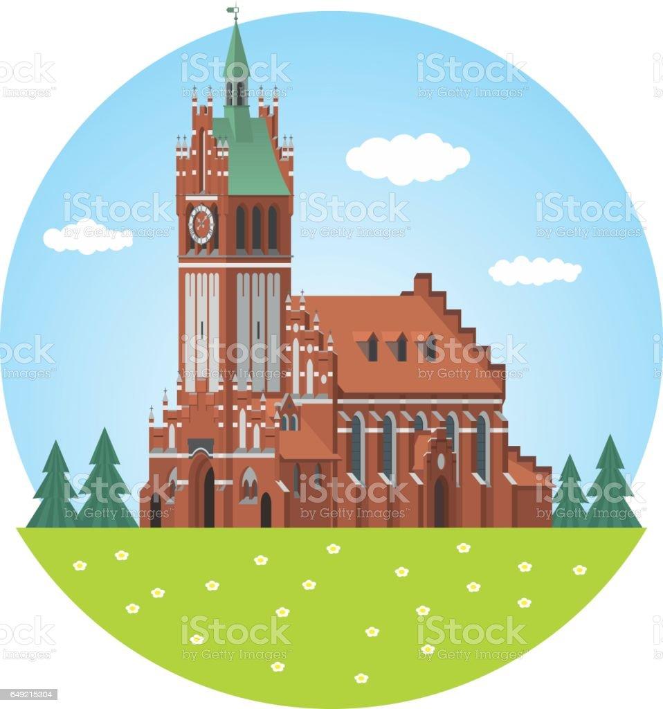 Kaliningrad. Philharmonic Organ Hall vector art illustration
