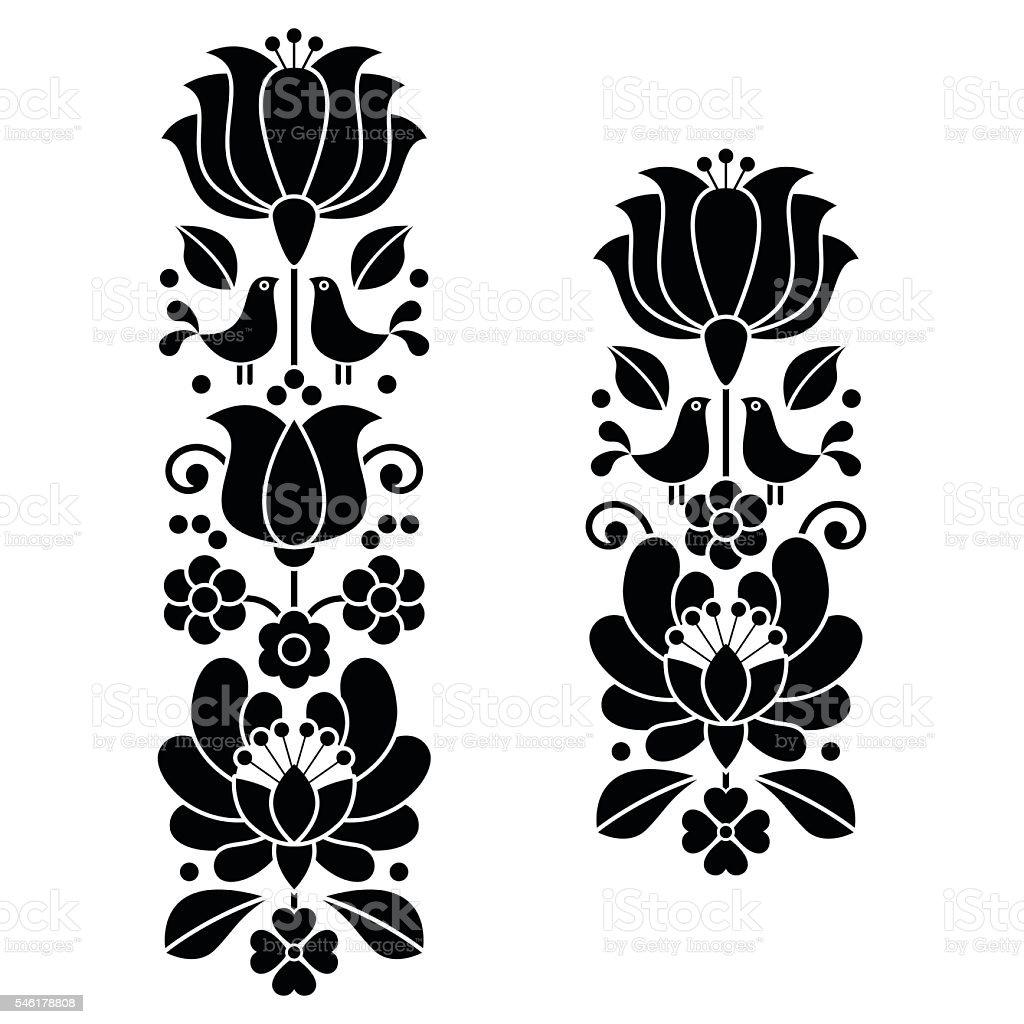 Kalocsai black embroidery - Hungarian floral folk art long patterns vector art illustration