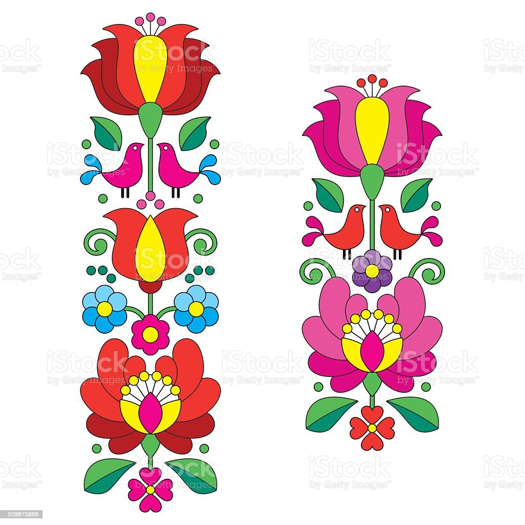 Kalocsai embroidery - Hungarian floral folk art long patterns vector art illustration