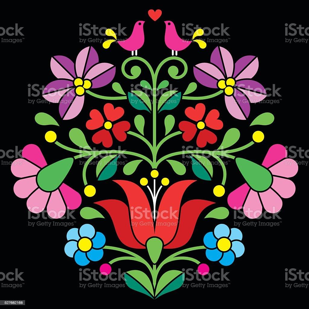 Kalocsai embroidery - Hungarian floral folk pattern on black vector art illustration