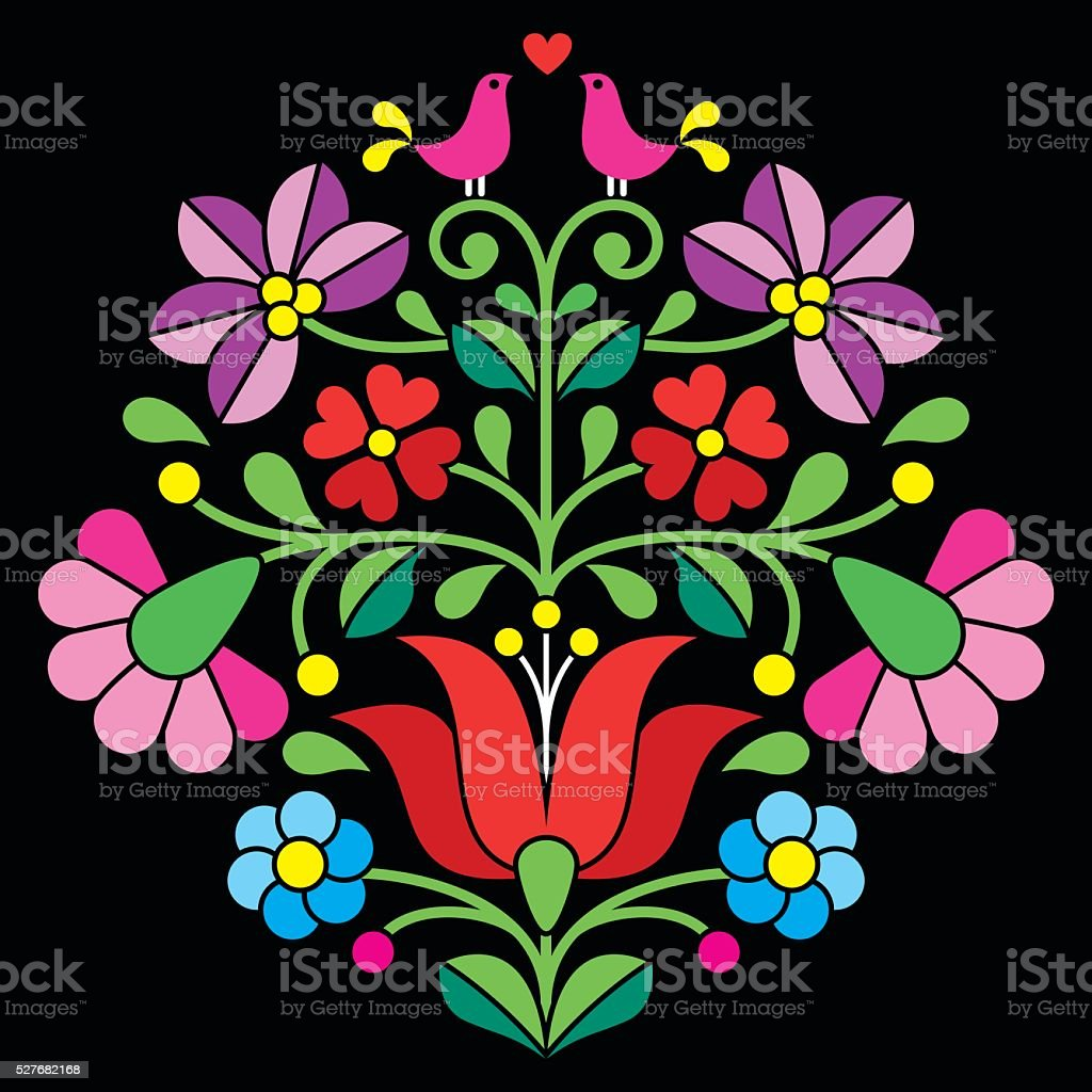 Kalocsai embroidery - Hungarian floral folk pattern on black vector art illustration