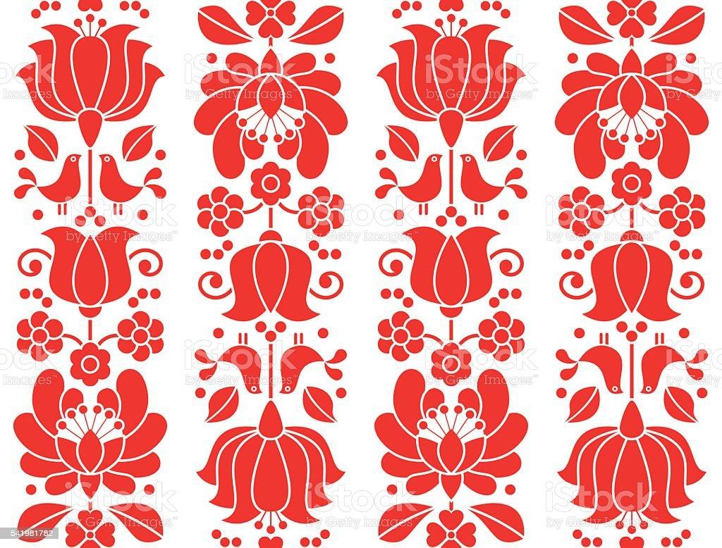 Kalocsai emrboidery red seamless patternn - floral folk art background vector art illustration