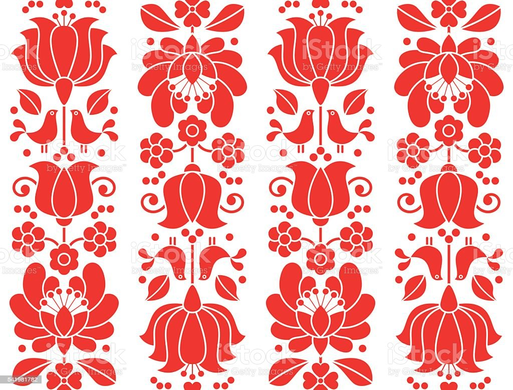 Kalocsai emrboidery red seamless patternn - floral folk art background vector art illustration