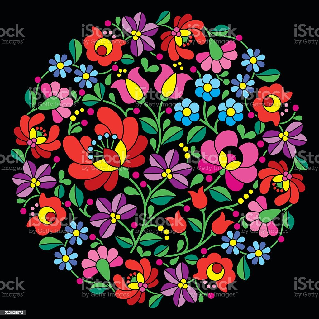 Kalocsai folk art embroidery - Hungarian pattern vector art illustration