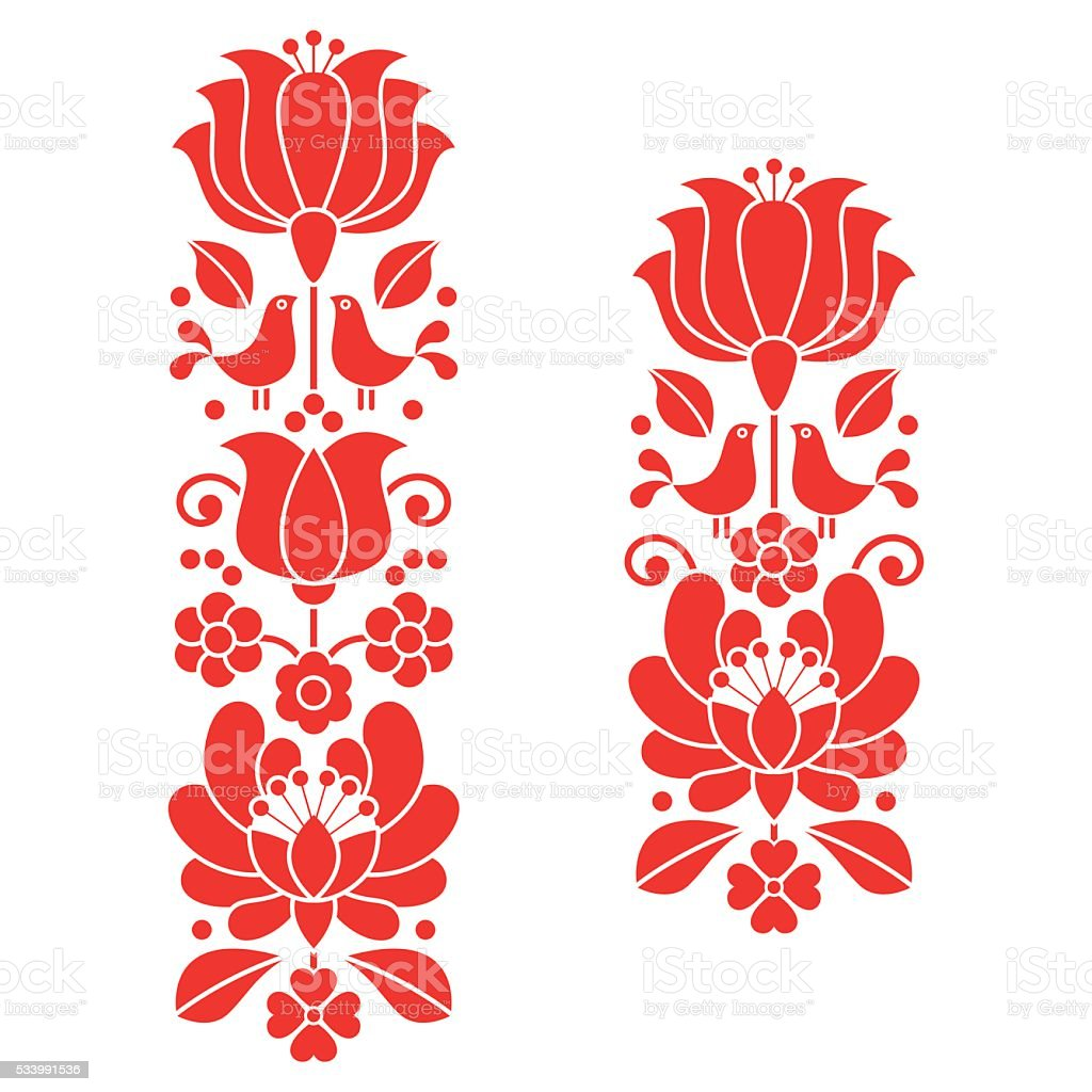 Kalocsai red embroidery - Hungarian floral folk art long patterns vector art illustration