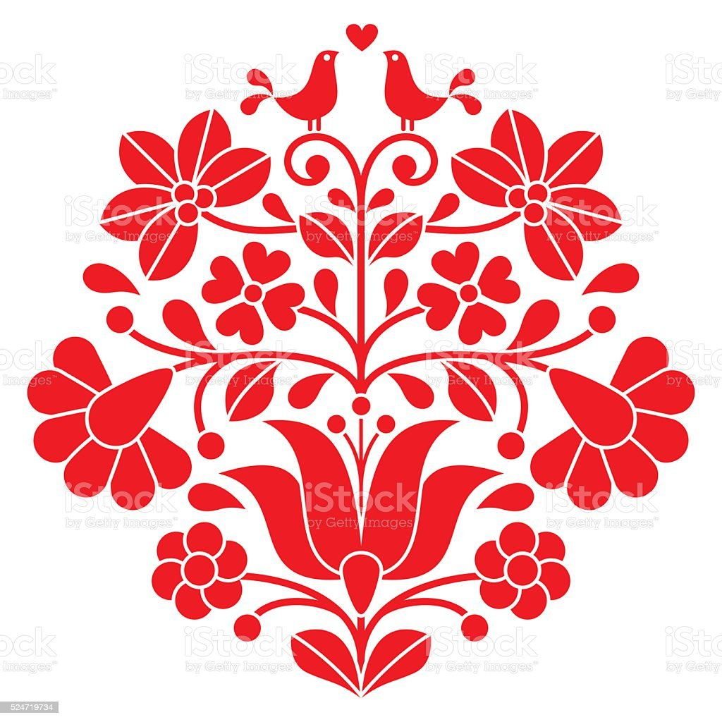 Kalocsai red embroidery - Hungarian floral folk pattern with birds vector art illustration