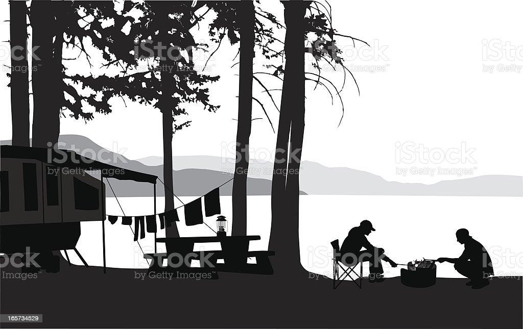 Kamping Vector Silhouette vector art illustration