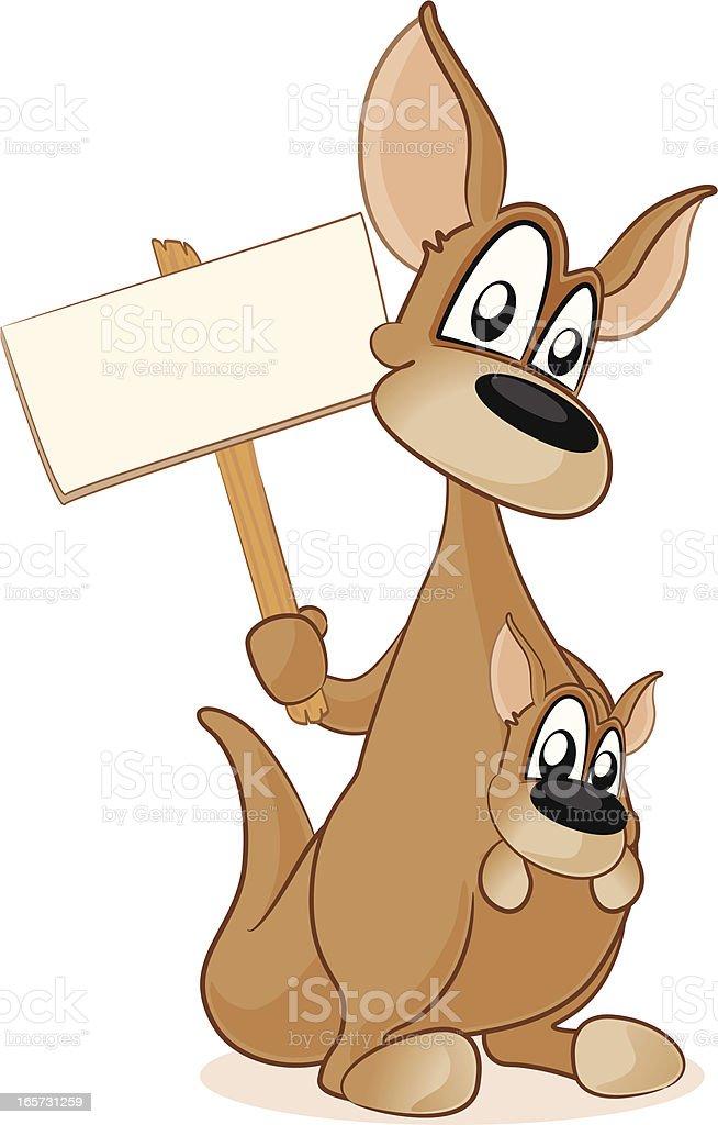 Kangaroo and baby Joey holding a blank sign vector art illustration