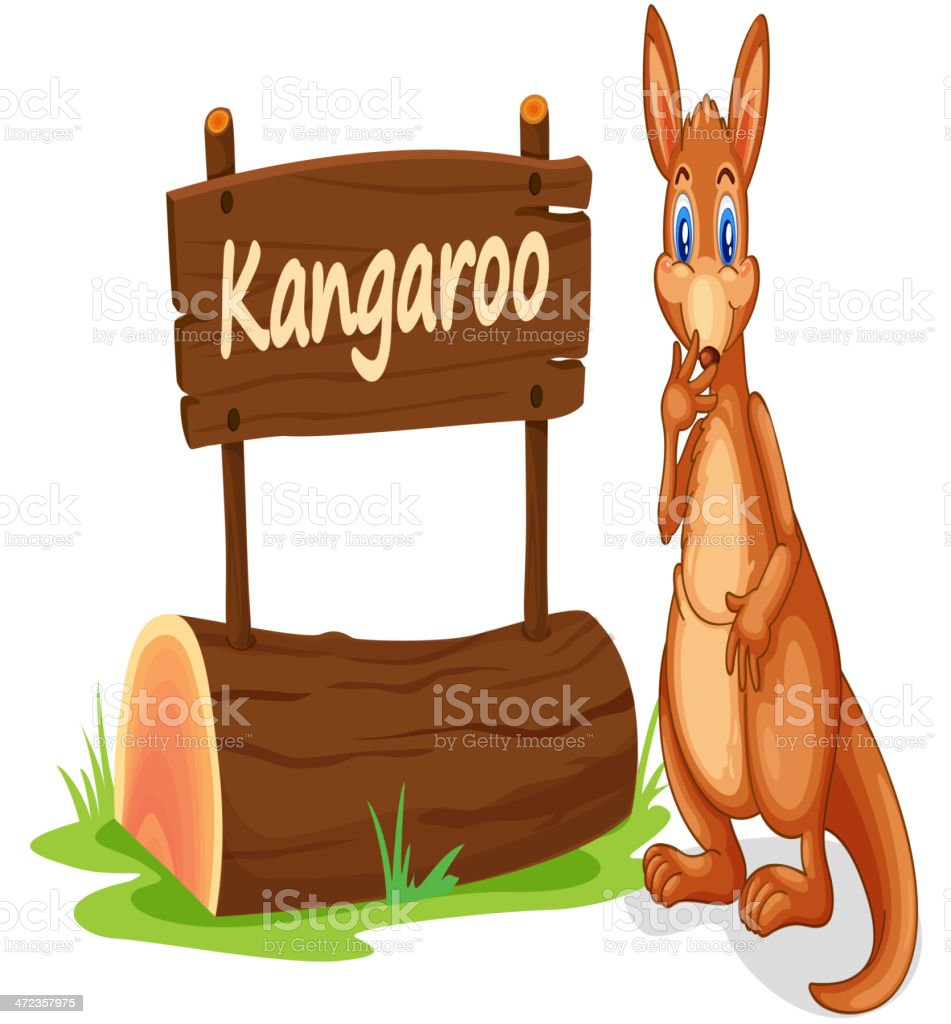 Kangaroo and name plate royalty-free stock vector art