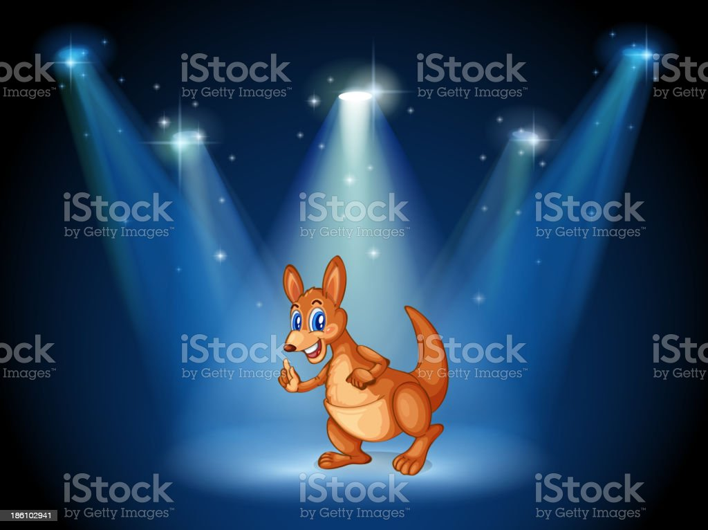 kangaroo at the center of  stage with spotlights royalty-free stock vector art