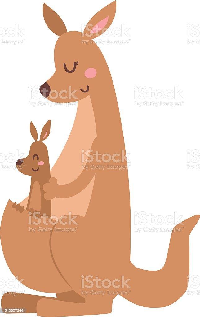 Kangaroo cartoon australia animal with baby flat vector illustration vector art illustration