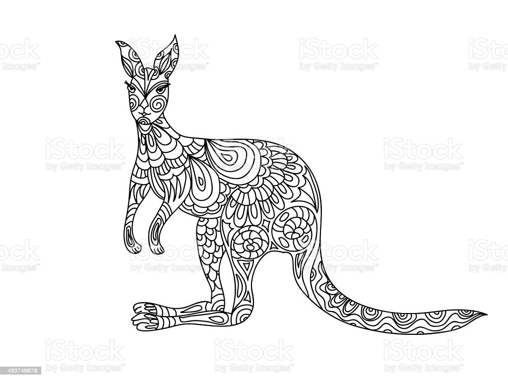 Free coloring pages kangaroo - Kangaroo Coloring Page Royalty Free Stock Vector Art