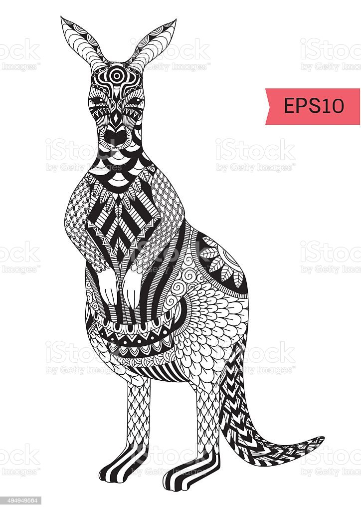 kangaroo coloring page royaltyfree stock vector art