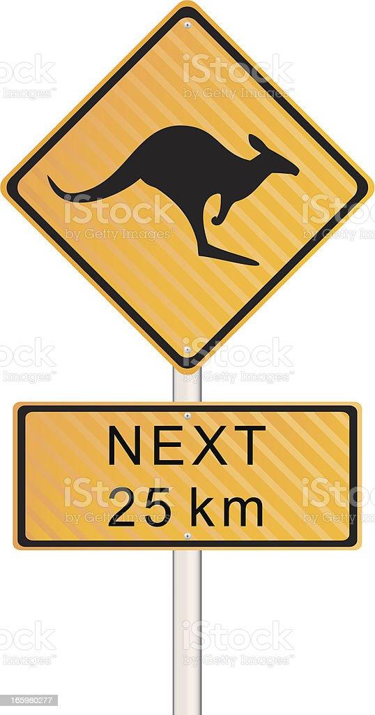 Kangaroo Crossing Sign vector art illustration