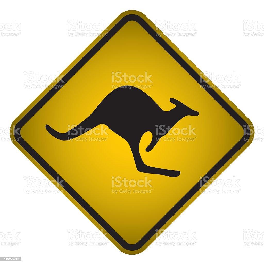 Kangaroo Crossing Sign- Vector vector art illustration