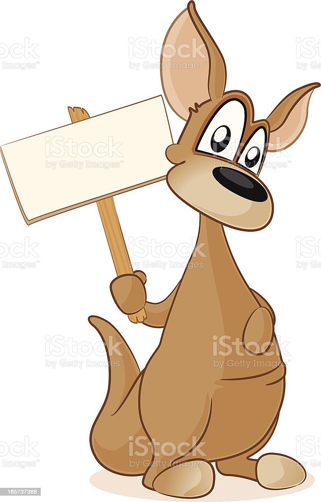 Kangaroo holding a blank sign royalty-free stock vector art