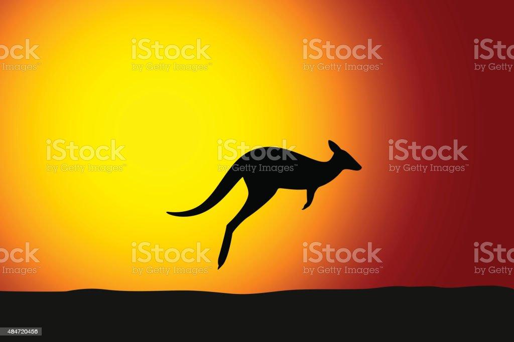 Kangaroo jumping front the sun vector art illustration