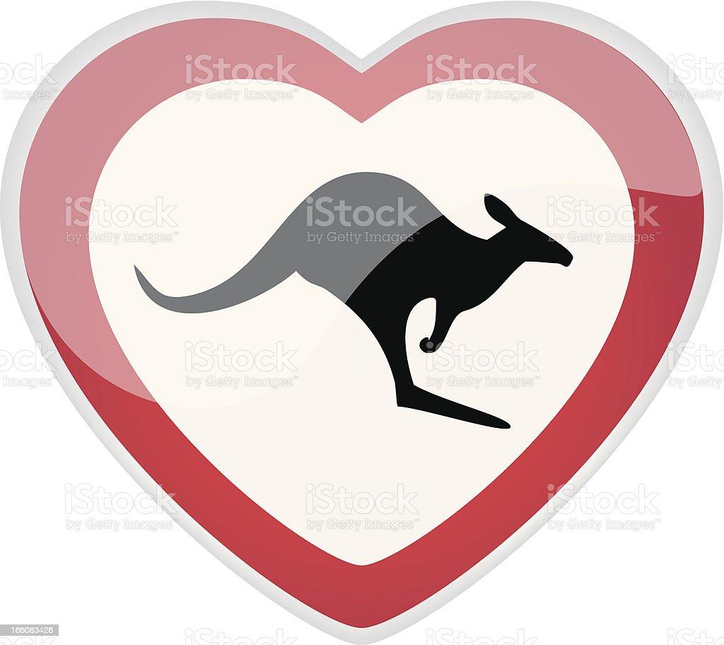 Kangaroo Love Sign vector art illustration