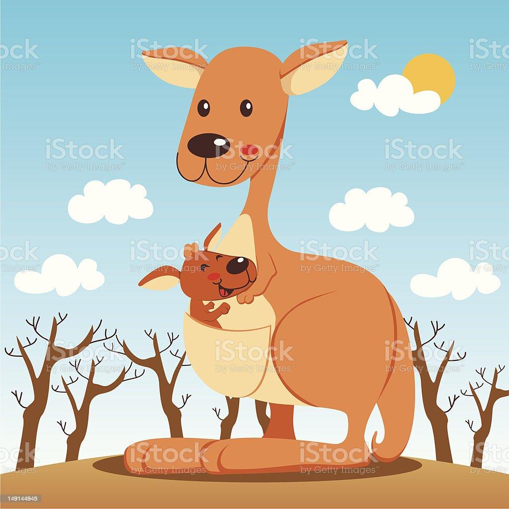 Kangaroo Mom vector art illustration
