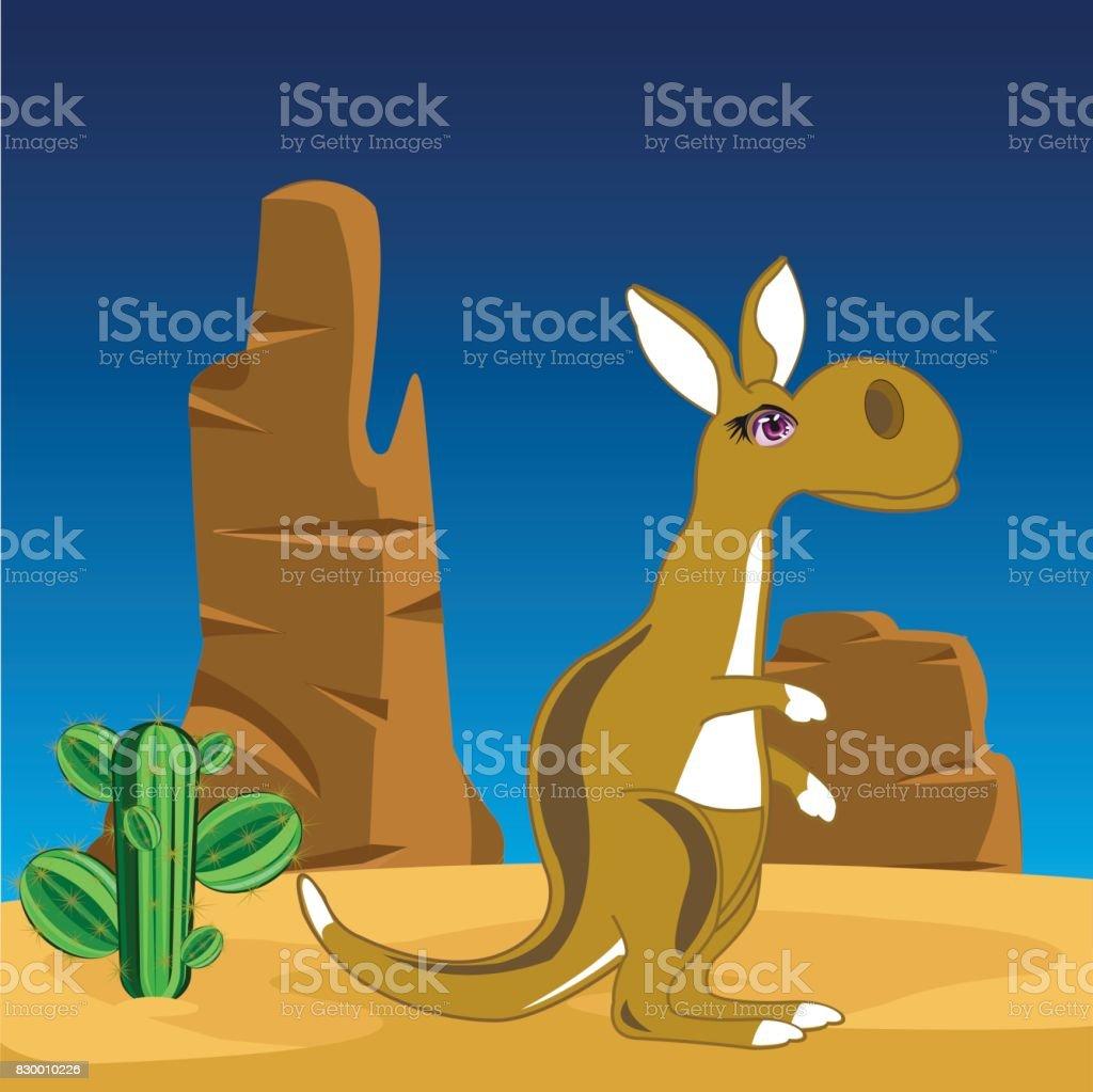 Kangaroo on nature vector art illustration