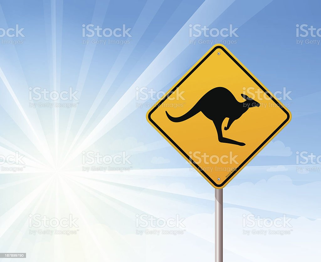 Kangaroo sign on blue sky royalty-free stock vector art