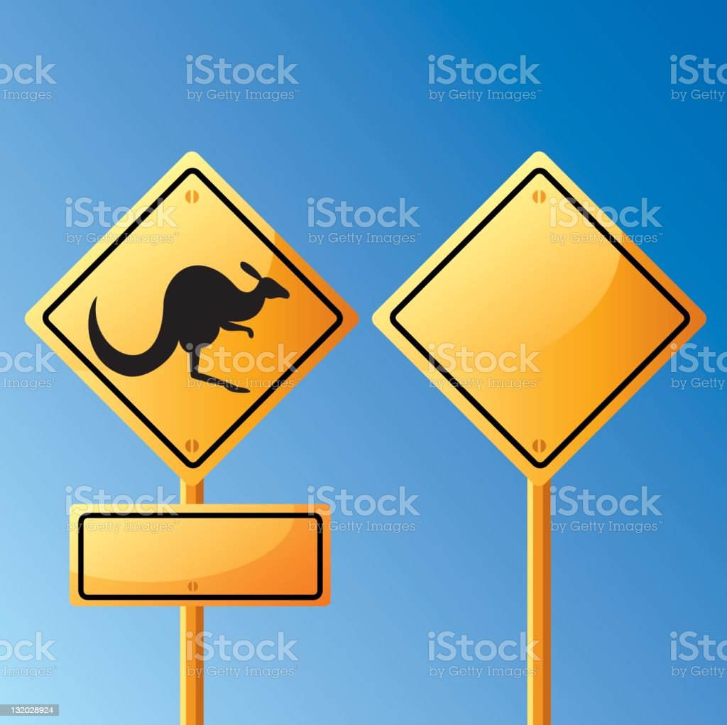 A kangaroo sign post against blue sky royalty-free stock photo