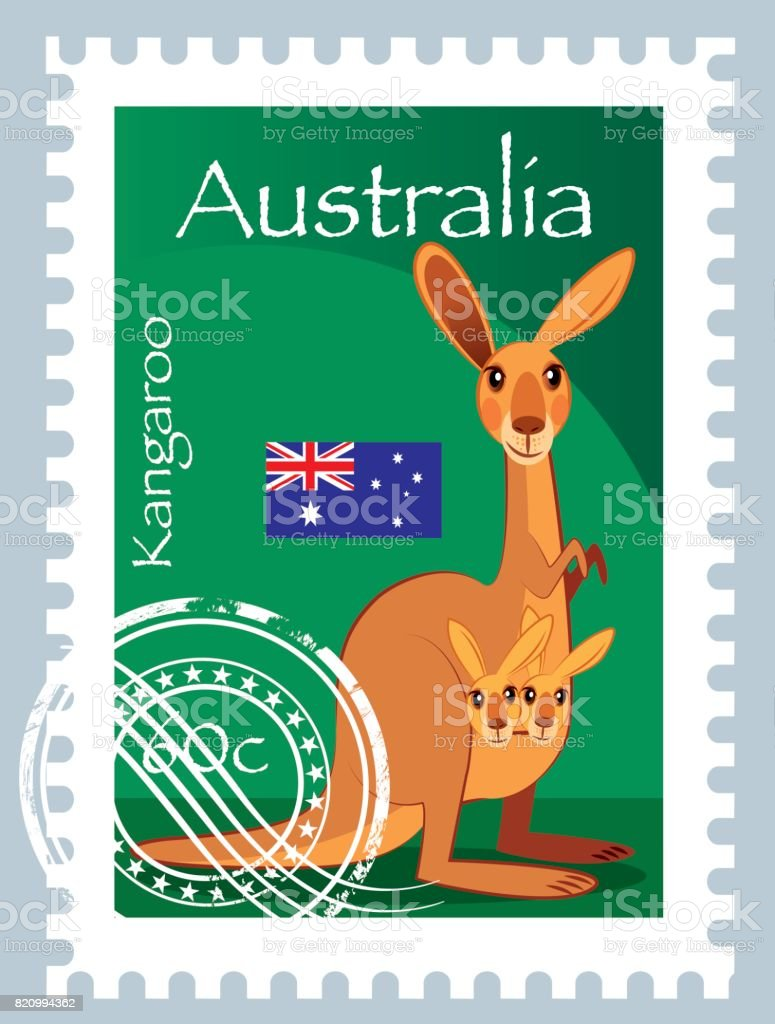 Kangaroo Stamp vector art illustration
