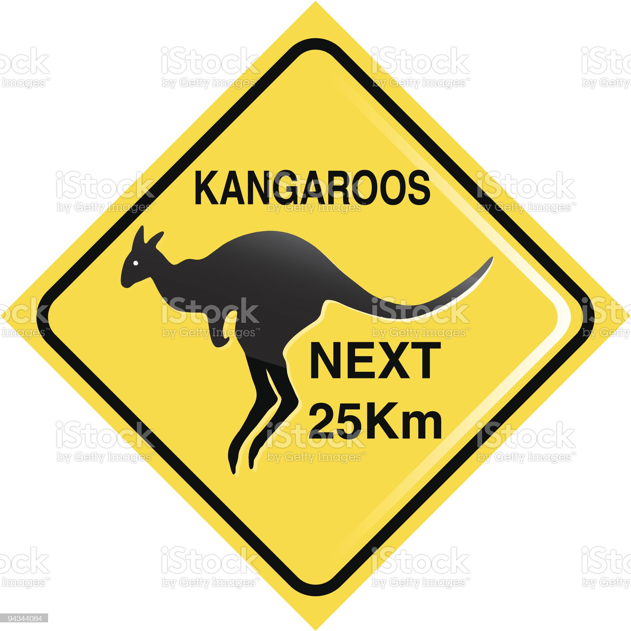 Kangaroo traffic sign royalty-free stock vector art