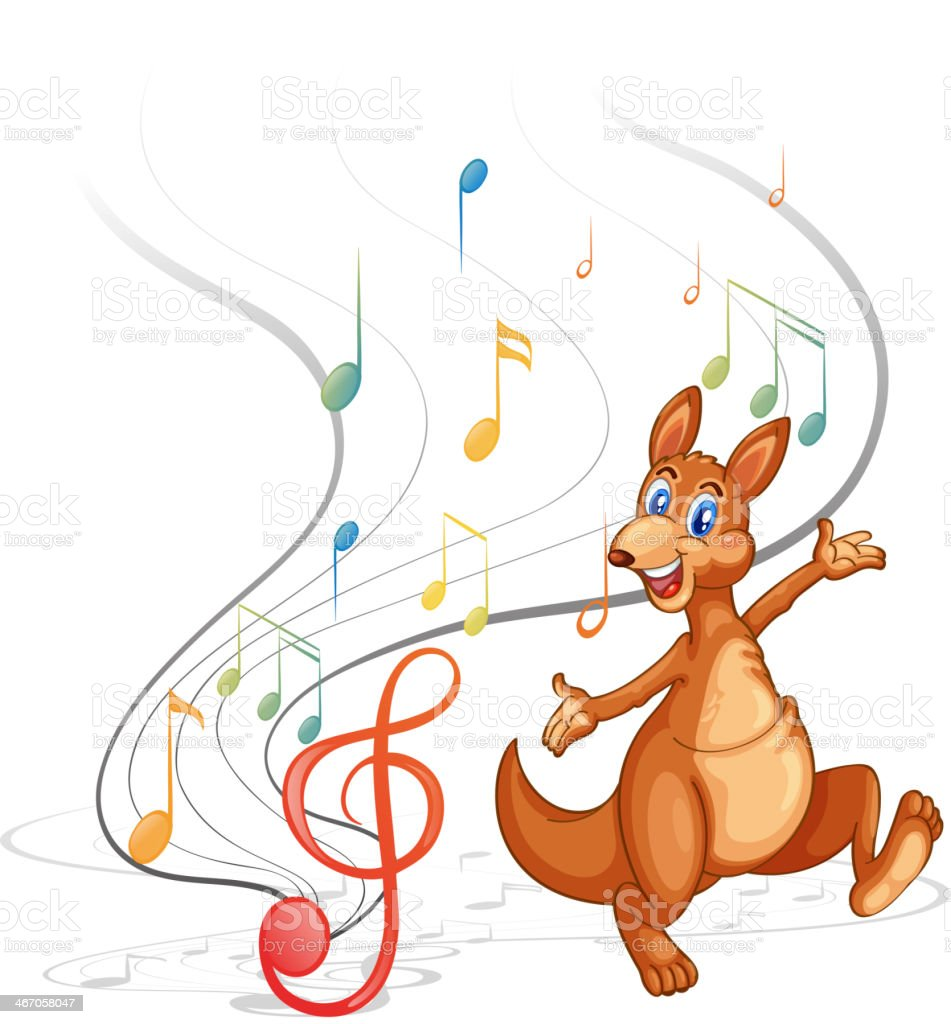 Kangaroo with the musical notes vector art illustration