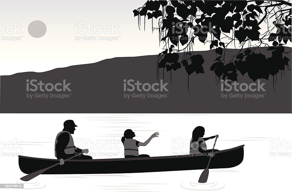Kanoe Vector Silhouette vector art illustration