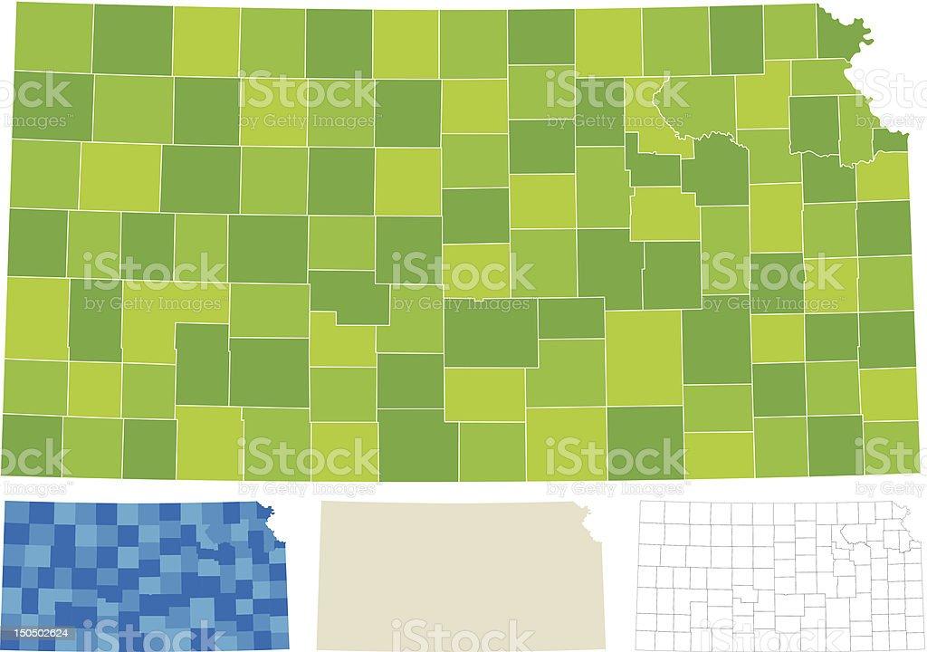 Kansas County Map royalty-free stock vector art